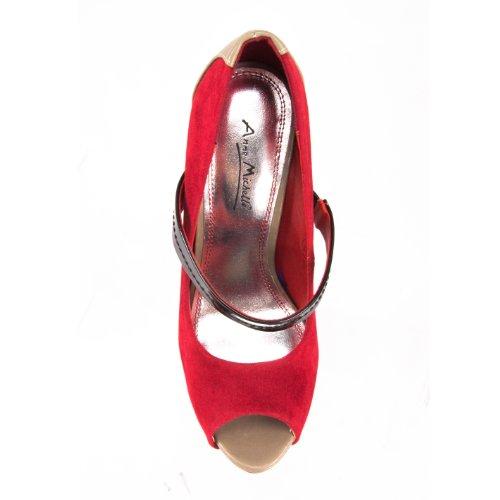 Zapatos Rojo Anne Vestir De Michelle Para Tela Mujer aq5Tp5wg
