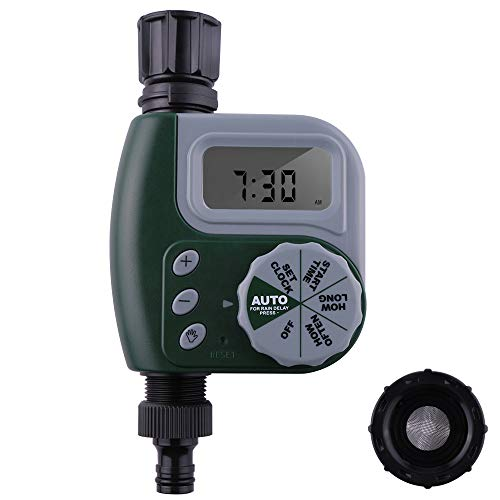 SIMENMAX Single Outlet Hose Faucet Timer Outdoor Waterproof Digital Programmable Automatic Timer with Rain Delay and Manual Control for Garden Irrigation