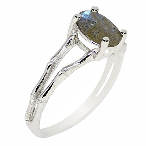 Genuine labradorite 925 sterling silver ring for girl friend gift by Shine Jewel