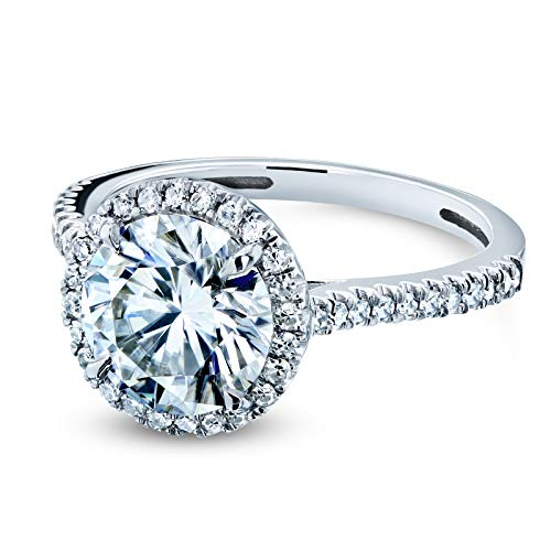 Round Brilliant Forever One Moissanite and Diamond Halo Engagement Ring 2 1/6 CTW 14k White Gold (DEF/VS, GH/I), 5.5 by Kobelli (Image #1)