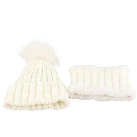Topgrowth Cappello Bambina Cappelli Sciarpa Inverno Neonato Sciarpa A Maglia  Unisex Bambini Berretto in Maglia con 571d5ab3a0ae