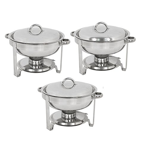 ZENY Pack of 3 Round Chafing Dish Full Size 5 Quart Stainless Steel Deep Pans Chafer Dish Set Buffet Catering Party Events Warmer Serving Set Utensils w/Fuel Holder ()