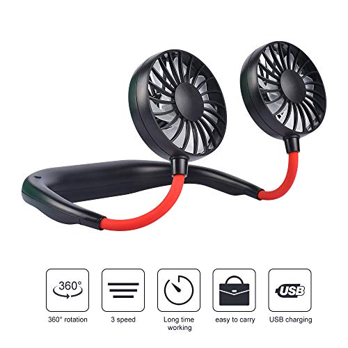(OKA Portable Fan USB Rechargeable Neckband Mini Fan Hands-Free Neckband Personal Fan, Headphone Design Wearable Portable 360 Degree Free Rotation for Summer Gift (3 Speeds, 4-12Working Hours) (Black))