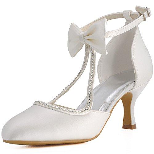 ElegantPark EP31018 Mujer Punta Chiusa Arcos Tira de Tobillo Tacón de Aguja Satén Boda Zapatos de Novia Ivoire