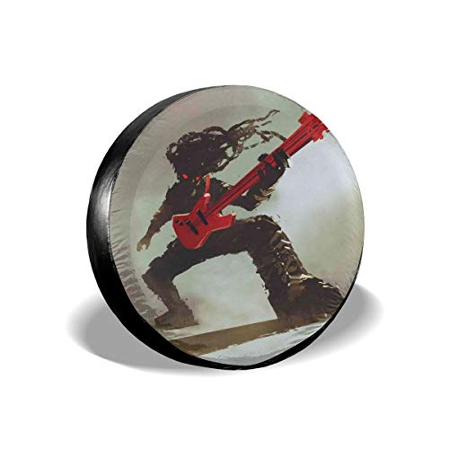 GULTMEE Tire Cover Tire Cover Wheel Covers,Rocker Guitarist Playing Bass Headbanging Hipster Rock Display Red Eyes Art Print,for SUV Truck Camper Travel Trailer Accessories(14,15,16,17 Inch) 14
