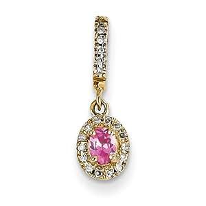 14k Amarillo Oro Diamante y Color de rosa Espinela Colgante