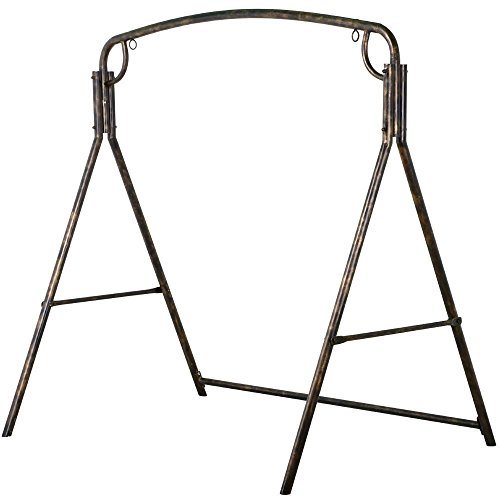 Yaheetech Premium Iron Porch Swing Stand Frame Heavy Duty Outdoor for Gardens, Lawns, Backyards, and Patios