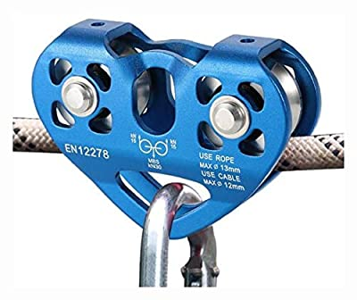 PROGLEAM Carabiner & Paracord, 30KN Outdoor Rock Climbing Dual Pulley Zip Line Rescue Cable Trolley
