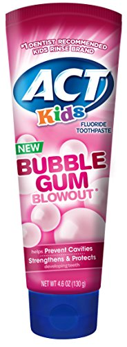 Child Bubble Gum - ACT Kids Bubblegum Blowout Toothpaste 4.6 ounce (Pack of 3)