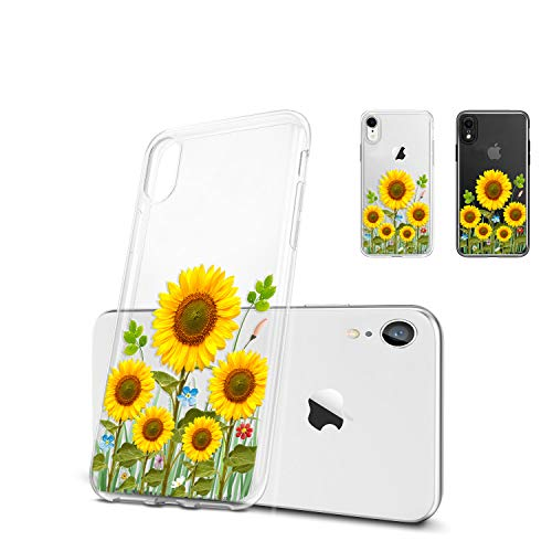 Unov Case Compatible with iPhone XR Case Clear with Design Slim Protective Soft TPU Bumper Embossed Pattern 6.1 Inch…