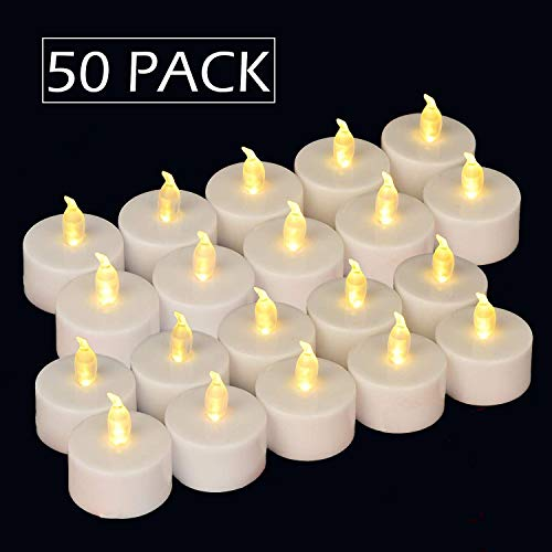 Flameless LED Tea Lights Candles (50 Tea Lights) Flickering Warm White.100 Hours Battery Tealight. Ideal Party, Wedding, Birthday, Gifts Home Decoration