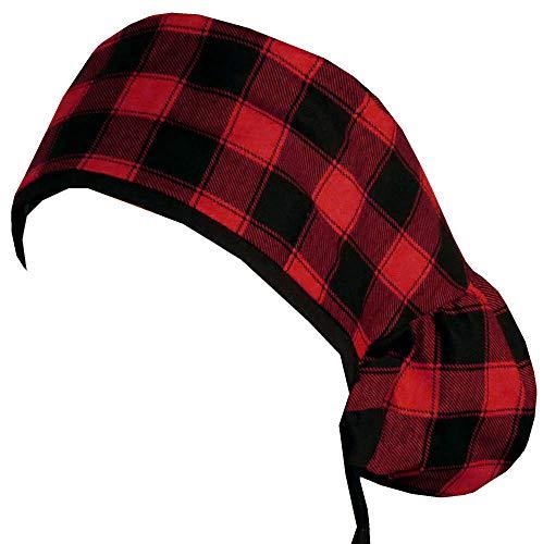 Big Hair Women's Scrub Cap - Christmas Buffalo Check w/Black Ties (NOT Flannel)