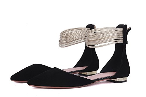 Pointed Pumps Zipper Heels Womens Toe AmoonyFashion Closed Cow Leather Low Black Solid Shoes qwgvRW4FX