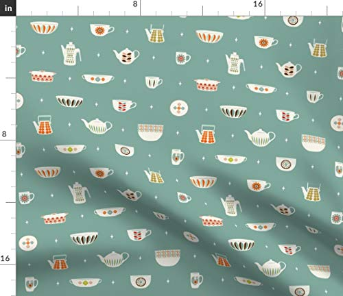 Green Vintage Kitchen Fabric - Mcm Ceramics-Duck Egg Retro Decor Dishes Mid Century Modern Abstract Home Mod Print on Fabric by the Yard - Velvet for Upholstery Home Decor Bottomweight Apparel