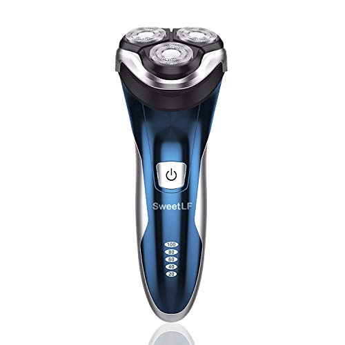SweetLF 3D Rechargeable 100% Waterproof IPX7 Electric Shaver Wet & Dry Rotary Shavers for Men Electric Shaving Razors with Pop-up Trimmer, Blue (120 Tabs Male Power)