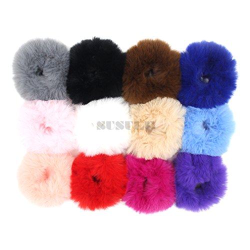 Set of 12 Fuzzy Furry Artificial Rabbit Fur Faux Fur Hair Band Rope Hair  Holder Wristband Hair Ring Hair Tie Ponytail Holder Hair Accessories (Mix  Colors) ... e20425f9921