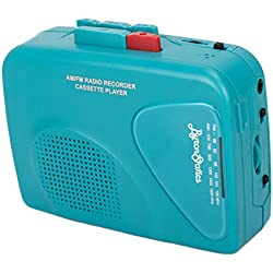 Byron Statics Cassette Player FM Am Radio Walkman Portable Cassette Converter Automatic Stop System Protect Cassette Tape Mic Recorder 2 AA Battery or USB Power Supply Belt Clip with Headphone, Teal