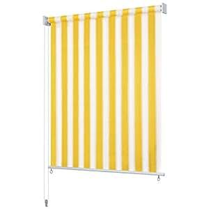 vidaXL Persiana Enrollable 220x230cm a Rayas Amarillas y Blancas Cortina Casa: Amazon.es: Hogar