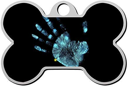 (Neon Handprint Pet Id Tags Personalised Stainless Steel Double Sided for Dogs Cats Funny)