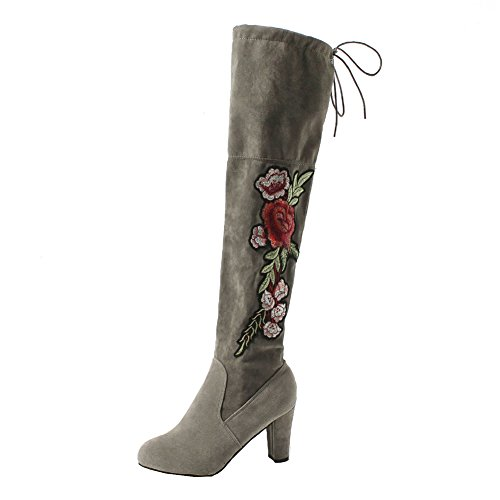 Long Boots For Women Ladies Fashion High Leg Shoes Comfortable Warm Block Heel Slip On Casual Boots For Party Club Gray ameNXH