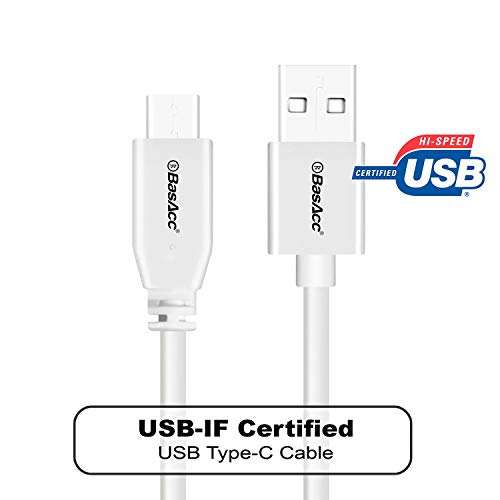 USB-IF Certified Type C Cable, BasAcc 3.3ft(1m) USB-C Cable Compatible with Samsung Galaxy S10/S10 Plus/S10e/S9/S9+ S9 Plus/S8/S8+ Plus/LG G6/Pixel 2 3 XL/Nintendo Switch, White
