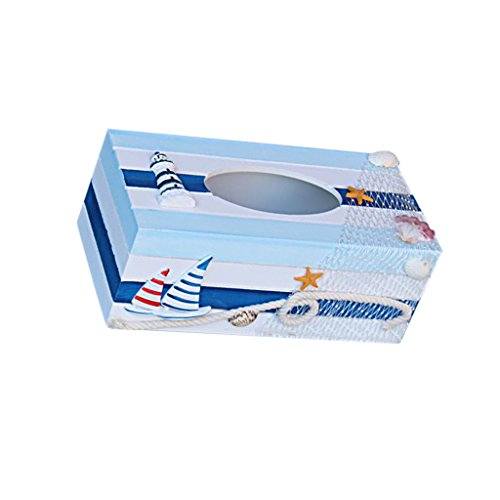 MagiDeal Nautical Wood Tissue Box Cover Tissue Case Starfish Shell Lighthouse 2 Sails
