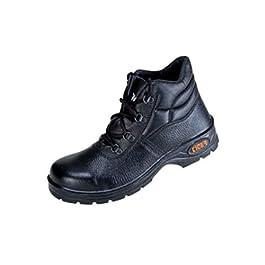 Tiger Men's High Ankle Leopard Steel Toe Safety Shoes, 6 (Black) (leopard 6no)