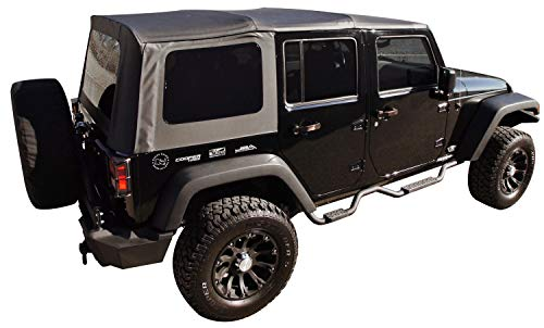 Soft Hardware Top (Rampage Products 99835 Factory Replacement Sailcloth Soft Top for 2007-2010 Jeep Wrangler JK Unlimited 4 Door, Black Diamond w/Tint Windows)