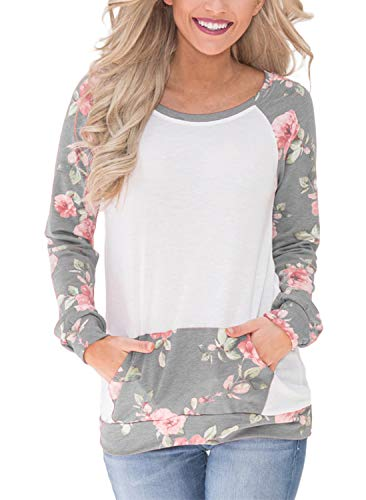 Gray Floral Pullover - BLENCOT Womens Gray Cute Long Sweatshirt Pullovers Floral Round Neck Pockets Tunic Blouse and Shirt Tops Medium