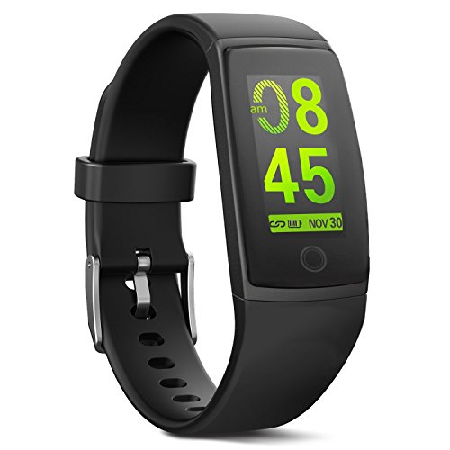 MorePro Waterproof Fitness Tracker, Color Screen Health Activity Tracker with Heart Rate Blood Pressure Monitor, Wearable Sport Pedometer Watch Calories Step Counter, Black by MorePro