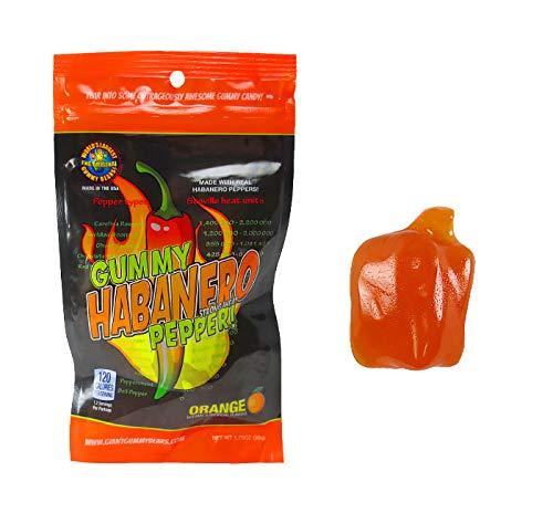 (Habanero Pepper Gummy With Habanero Oil - Orange Flavor - 1.75oz Retail Bag Large Gummy - Strong Heat Level)