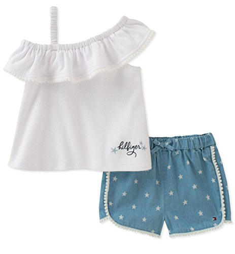 Tommy Hilfiger Baby Girls Shorts Set, White/Blue, 6-9 - Anya Dress
