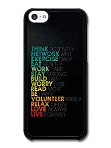 MMZ DIY PHONE CASEThink Positively Life & Love Inspirational Quote Black Background case for iphone 4/4s