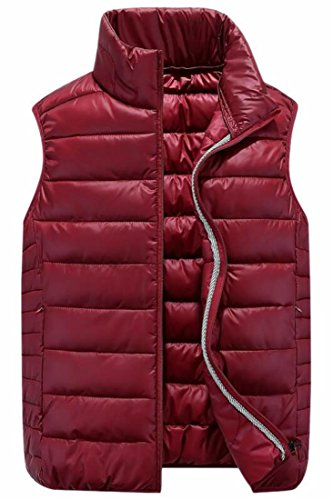 Fit Vest Fly uk Mandarin Mens Solid Jacket Classic Red Year Collar Puffer Wine 4IIqRrv
