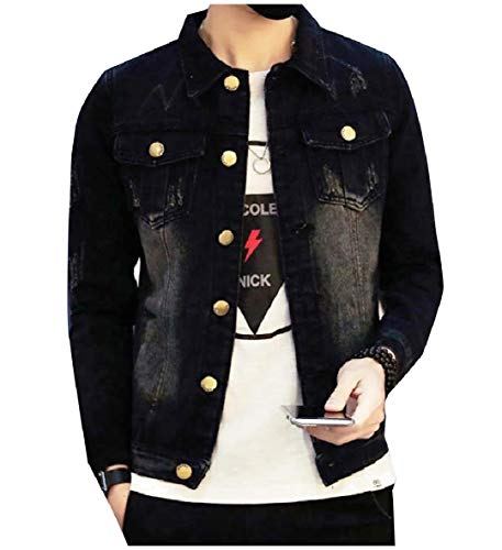 Tall XINHEO Turn Pockets Men's Jean Black Buttoned Jacket Down Big Collar qrpOBt