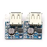 DaFuRui 2pcs Ultra Mini DC Boost Converter Mobile Power Supply Module,USB DC-DC Step Up Converter 3V to 5V 2A Boost Voltage Regulator Module with Battery Indicator for Tablet PC iPad iPhone