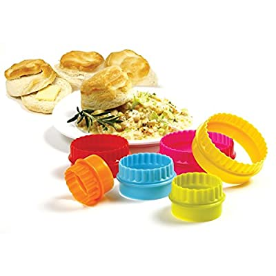 Plain and Scallop Cookie Biscuit Tart Two Sided Cutters 6 pc Set