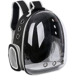 1pc Pet Travel Bag Transparent Pet Backpack Breathable Kitty Puppy Small Dog Cat Shoulder Carrier,Black,one Size