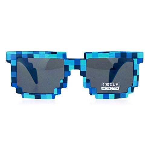 SA106 Pixelated 8 Bit Retro Video Game horned Sunglasses - Sunglasses Game Video
