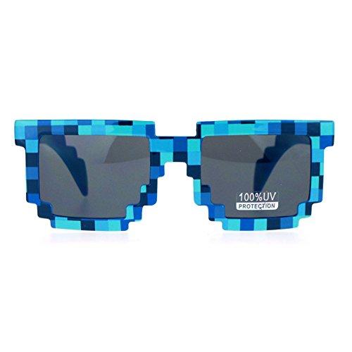 SA106 Pixelated 8 Bit Retro Video Game horned Sunglasses - Game Sunglasses Video