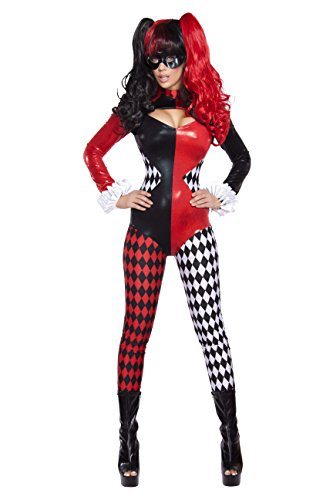Adult Women's 2 Piece Sexy Court Jester Clown Jumpsuit Halloween Party Costume