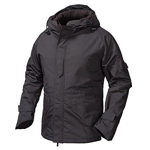 RockJay US Army Tactical Jacket Men Waterproof Military Camouflage Jackets Winter Warm Hoodie Fleece Coat Black M by RockJay