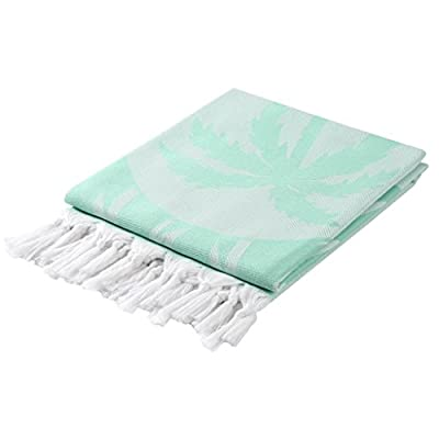 CACALA Palm Series - Turkish Pestemals and Towels Mintgreen - 100 x 175 cm ( 37 x 69 inches) - 375 grams (0.83 pounds) Manufactured by Cacala and 100% Made in Turkey Unlike most towels , they get softer and more luscious the more you wash and use them. - bathroom-linens, bathroom, bath-towels - 41NCI5%2B1EqL. SS400  -