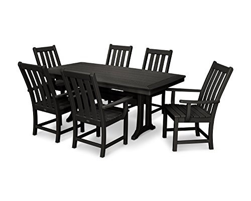 Polywood Traditional Deck - POLYWOOD Vineyard 7-Piece Dining Set (Black)