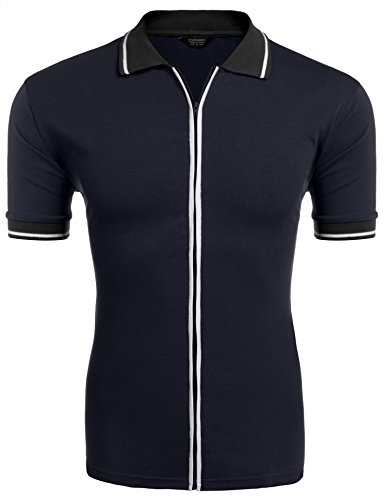 COOFANDY Mens Full Zip Polo Shirt Slim Fit Casual Cotton Contrast T Shirts Navy Blue