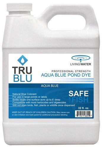 Pond Predator Control - Living Water TruBlu Concentrated Pond Dye, Aqua Blue (1qt) - Concentrated Colorant Shades Water for Temperature and Algae Control - Non-Toxic, Safe for Swimming and Wildlife - Professional Strength