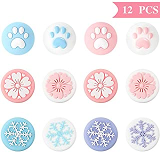 12 Pieces Cute Thumb Grip Caps, Sakura Flower/Cat Paw/Snowflake Thumb Grips Analog Stick Cover Joystick Cap Soft Silicone Cover Compatible with Nintendo Switch, Switch Lite and Joy-Con Controller