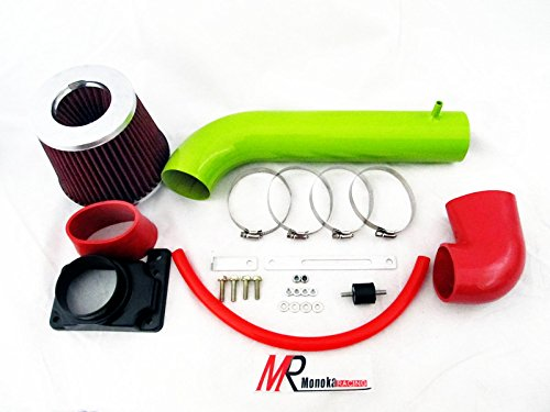 2000 2001 2002 2003 2004 2005 Mitsubishi Eclipse with 3.0L V6 Engine (GT/GTS)(Coupe & Spyder) Green Piping Short Ram Air intake System Kit with red Filter (Mitsubishi Eclipse Gt Coupe)