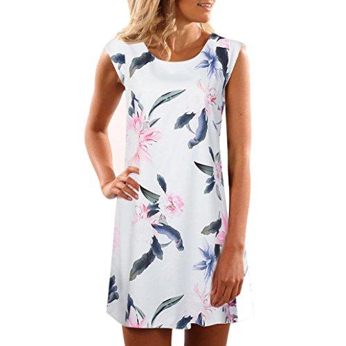 Women Mini Dress - Franterd Casual Evening Party Dress - Summer Beach Sundress (XXXL, Multicolor)