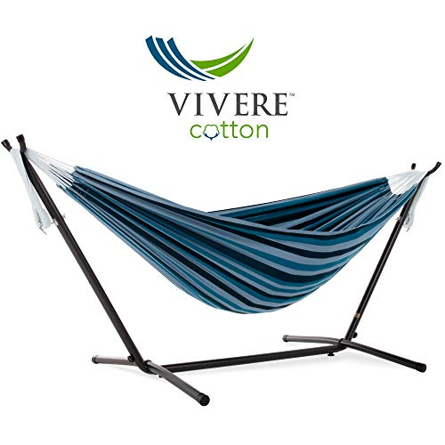 Vivere Double Cotton Hammock with Space Saving Steel Stand, Blue Lagoon 450 lb Capacity – Premium Carry Bag Included